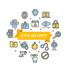 data security and safe round design template icon vector image