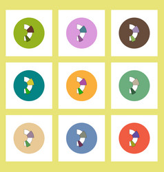 Flat icons set of business half pie chart concept vector