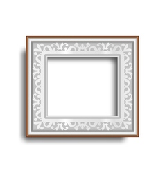 Silver frame with ornament isolated on white vector