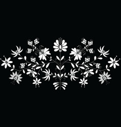 European folk floral pattern in in white on black vector