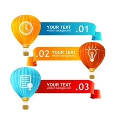 Hot air ballons option banners vector