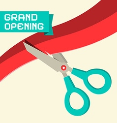 Grand Opening with Scissors and Ribbon vector image