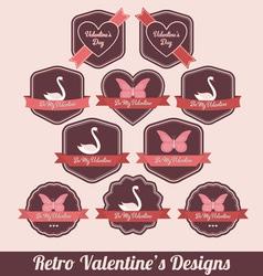 retro valentine labels vector image
