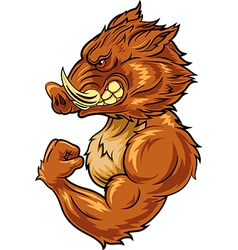 Cartoon angry wild boar mascot vector