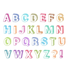 Alphabet set 3d form vector