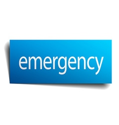 Emergency blue paper sign on white background vector