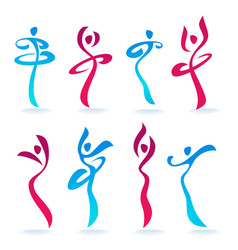 Abstract dancing people women silhouettes for vector