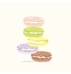Background french colorful macaron dessert green vector