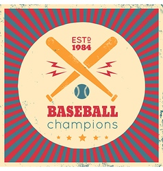 Baseball vintage poster red vector