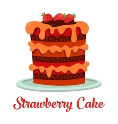 Cartoon cake with cream and strawberry vector