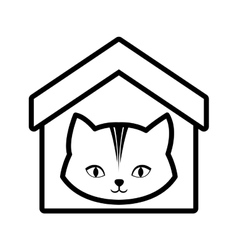 Cat animal domestic house pet outline vector