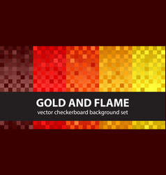 Checkerboard pattern set gold and flame vector