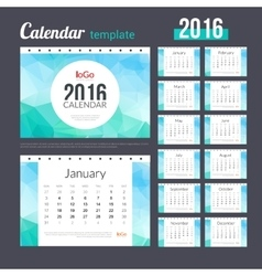 Desk Calendar 2016 Design Template with triangular vector image