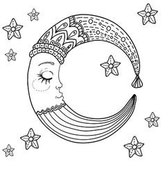 Doodle Moon for children design vector image