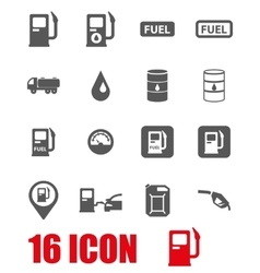 grey gas station icon set vector image