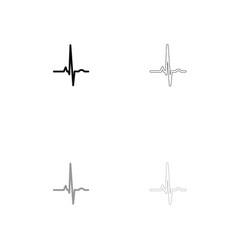 heart rhythm ekg black and grey set icon vector image