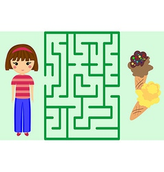 Maze Game Help the Girl to Get Ice-Cream Puzzle vector image