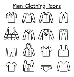 men clothes icon set in thin line style vector image