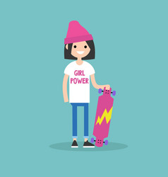 Millennial skater girl wearing t-shirt with girl vector