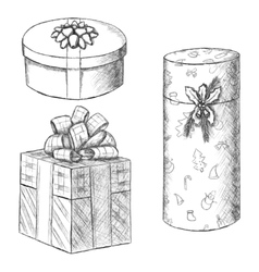 Pen vintage sketch - hand drawn gift boxes vector image vector image