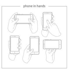 Phone in hands vector