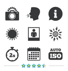 Photo camera icon flash light and auto iso vector