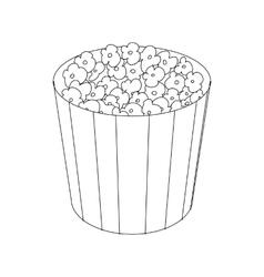Popcorn in cardboard bucket icon vector