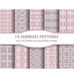 set of geometric seamless patterns for vector image vector image