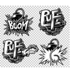set of monochrome comics icons vector image vector image