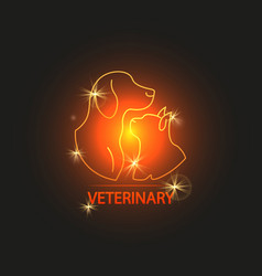 shine veterinary logo design with cat and dog vector image vector image