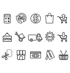 shopping icons set - line form vector image vector image