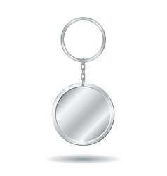 Silver keychain circle shape vector