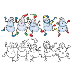 Snowmen dance vector