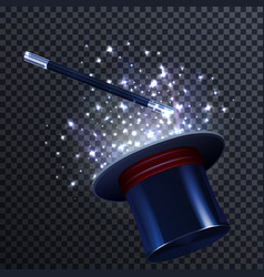 Tale composition with magic wand and magician hat vector