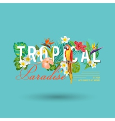 Tropical bird and flowers graphic design vector