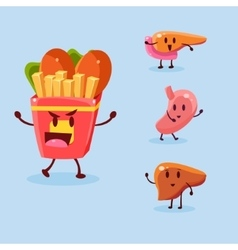 Unhealthy food danger set vector