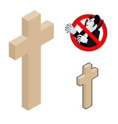 Wood cross crucifix against vampires ban dracula vector