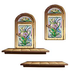 wooden door with stained glass vector image