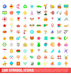 100 symbol icons set cartoon style vector