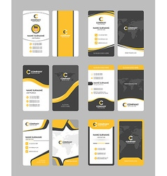 Vertical double-sided business card templates vector