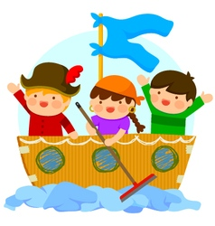 kids playing pirates vector image