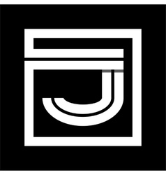 Capital letter j from white stripe enclosed in a vector