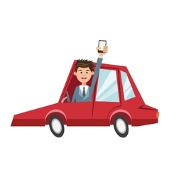 Man car and smartphone design vector