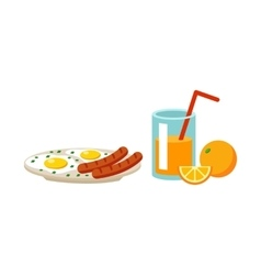 Fresh drink scrambled eggs lunch vector