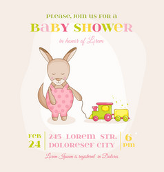 baby girl kangaroo with a train - baby shower card vector image