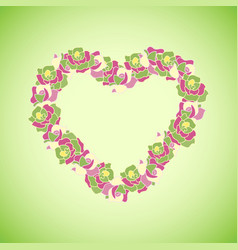 heart made of colorful roses on the green backgrou vector image