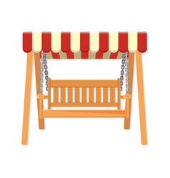 Garden wooden swing with striped awning vector