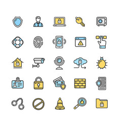 Data security and safe icon color thin line set vector