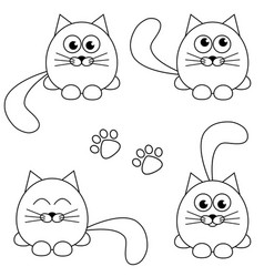 Cute cat and footprint icons isolated on white vector