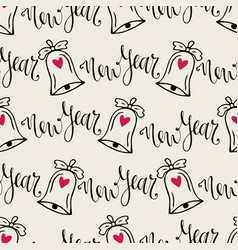 christmas bells seamless pattern with calligraphy vector image